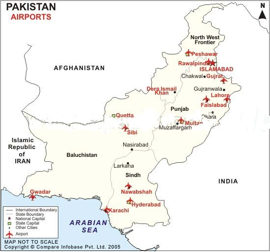 Islamabad Pakistan Map: Airports In Pakistan
